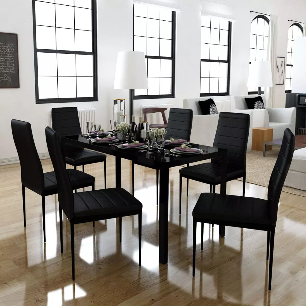 Seven Piece Dining Table and Chair Set Black 1
