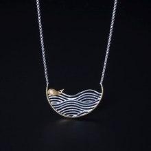 Real 925 prata esterlina artesanal jóias finas criativo pingente de baleia com colar presente feminino
