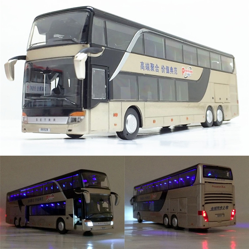Zhenwei Alloy Decker 1:32 Pull Back Bus Model High Simitation Double Sightseeing Bus Flash Toy Vehicle Kids Toys(China)