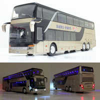 Zhenwei Alloy Decker 1:32 Pull Back Bus Model High Simitation Double Sightseeing Bus Flash Toy Vehicle Kids Toys