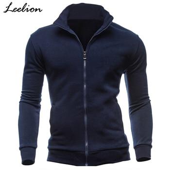IceLion 2019 New Hoodies Men Fleece Zipper Sweatshirts Autumn Spring Stand Collar Sportswear Slim Male Solid Hip Hop Tracksuit