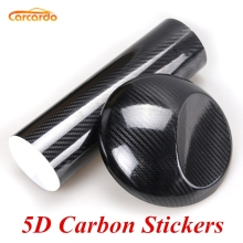 цены Carcardo 5D Carbon Fiber Vinyl Film 5D Car Wrap Glossy 5D Carbon Vinyl Wrap Car Sticker With Air Bubble Auto Sticker Car Decal