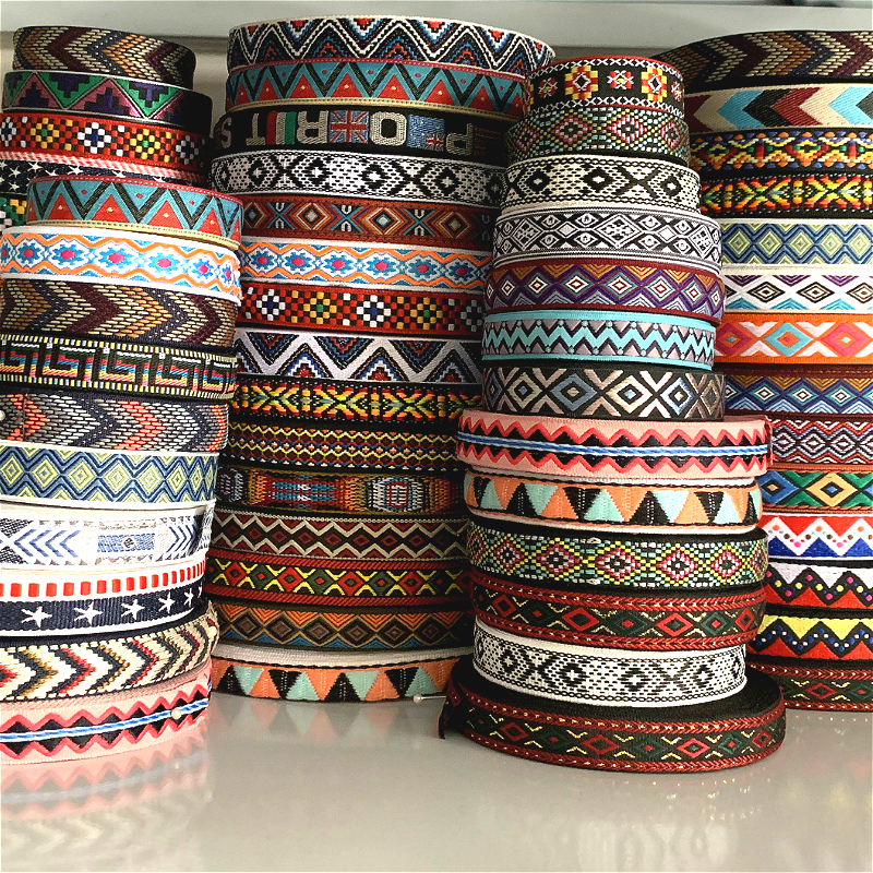 5 Yards 0.75 Inch 20MM Colorful Geometric Single Face Jacquard Embroidered Ribbons DIY Apparel Wrapping Trim Sewing Accessories