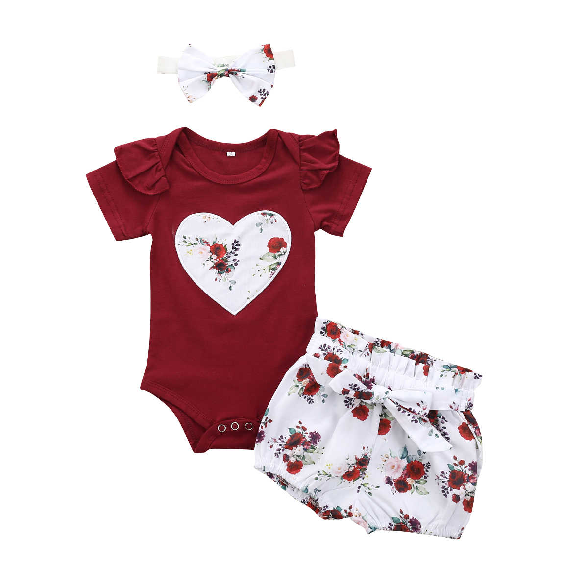 Toddler Girl Clothes 2020 Newborn Baby Girls Kid Clothes Jumpsuit Tops + Flowers Shorts + Headband 3PCS