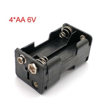 High Quality AA Battery Holder 6V for 4 X AA Batteries Black Plastic Storage Box Case Dual Layers with 9V Connector image
