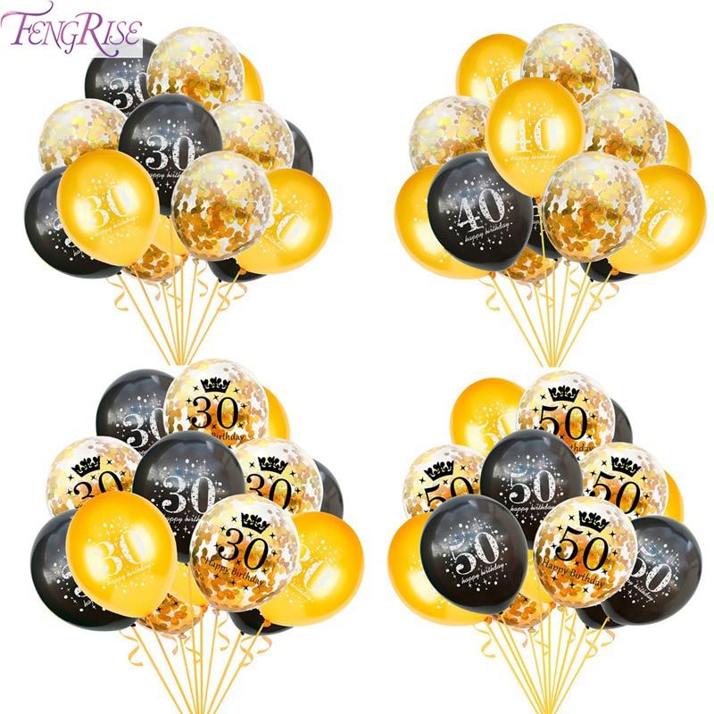 Schwarz Goldene Geburtstag Luftballons 30 40 50 Jahre Glücklich Geburtstag party Dekoration 30th 40th 50th Geburtstag Jahrestag Dekor Versorgung