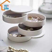 4 слоя коробка для хранения ювелирных изделий на 360 градусов вращающийся держатель Органайзер для ювелирных изделий для сережек резиновый браслет органайзер для мелких предметов