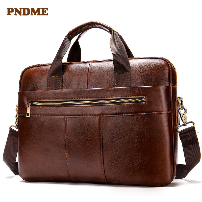 PNDME Vintage Top Layer Cowhide Men Briefcase Casual Simple Business Genuine Leather Laptop Bag Designer Shoulder Messenger Bags