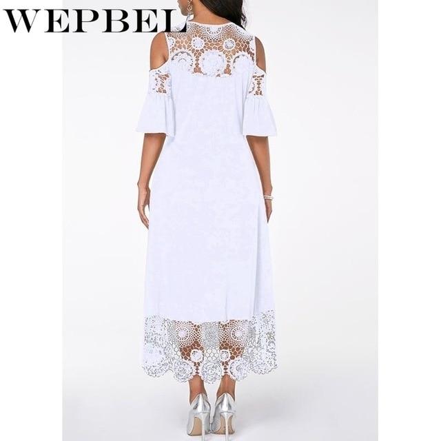 Women Plus Size Summer Lace Floral Dress Ladies Short Ruffles Sleeve Off Cold Shoulder O Neck Party Dress Long Maxi Dress 5XL 3