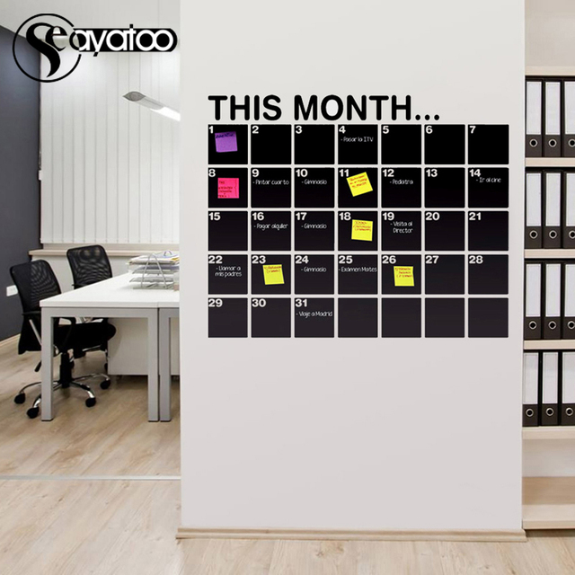 This Month Calendar Erasable Chalkboard Planner 58x72cm