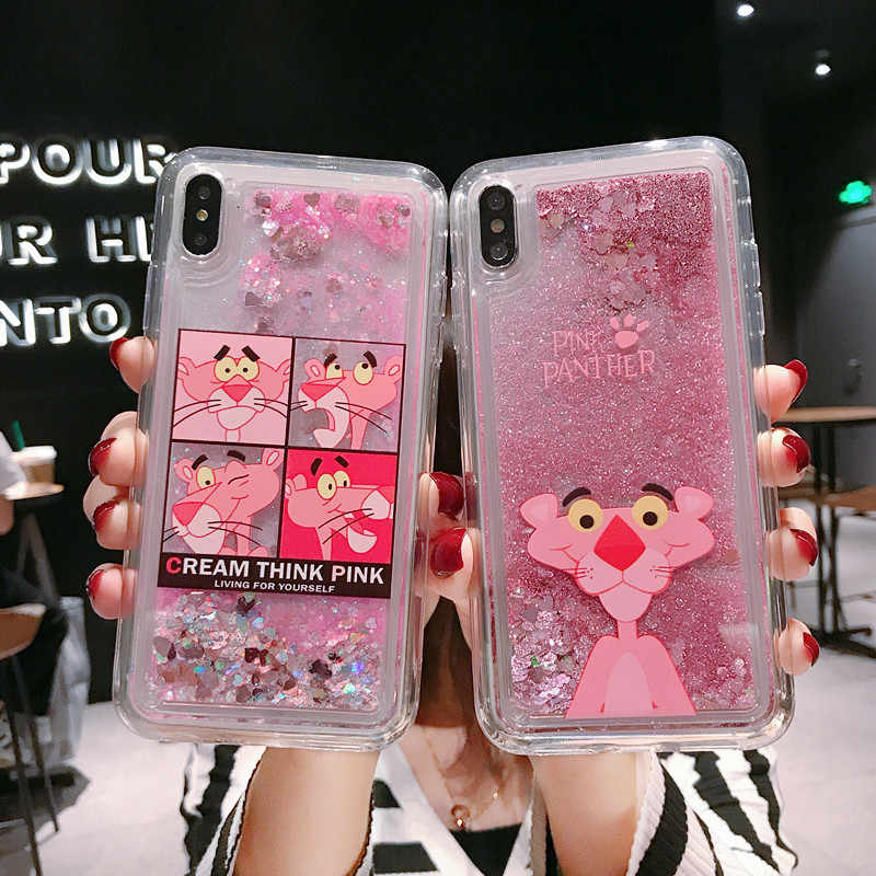 Cute Pink Panther Glitter Cair Ponsel Case untuk OPPO A9 2020 A11X Cat Kuku Pasir Hisap untuk OPPO A5 2020 Pelindung cover Case