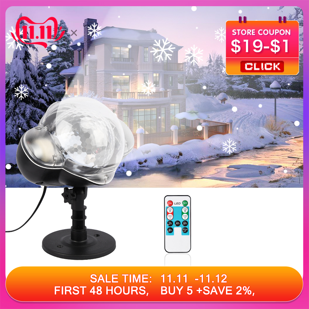 Christmas Snowflake Laser Light Snowfall Projector IP65 Garden Projector Lamp Moving Snow Outdoor Christmas Decorations For Home