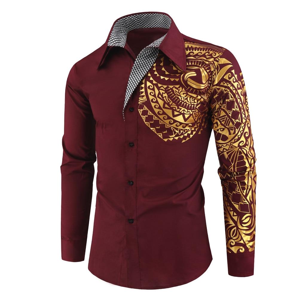 H8bdd5ff067464f15ad3213e9d410125cJ 2021 Luxury Gold Black Shirt Men New Slim Fit Long Sleeve Camisa Masculina Gold Black Chemise Homme Social Men Club Prom Shirt