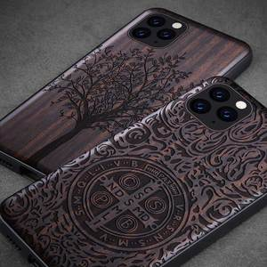 Image 2 - Funda de madera de ébano para iPhone 12 Pro, carcasa de parachoques de TPU tallado para iPhone 12 Pro Max