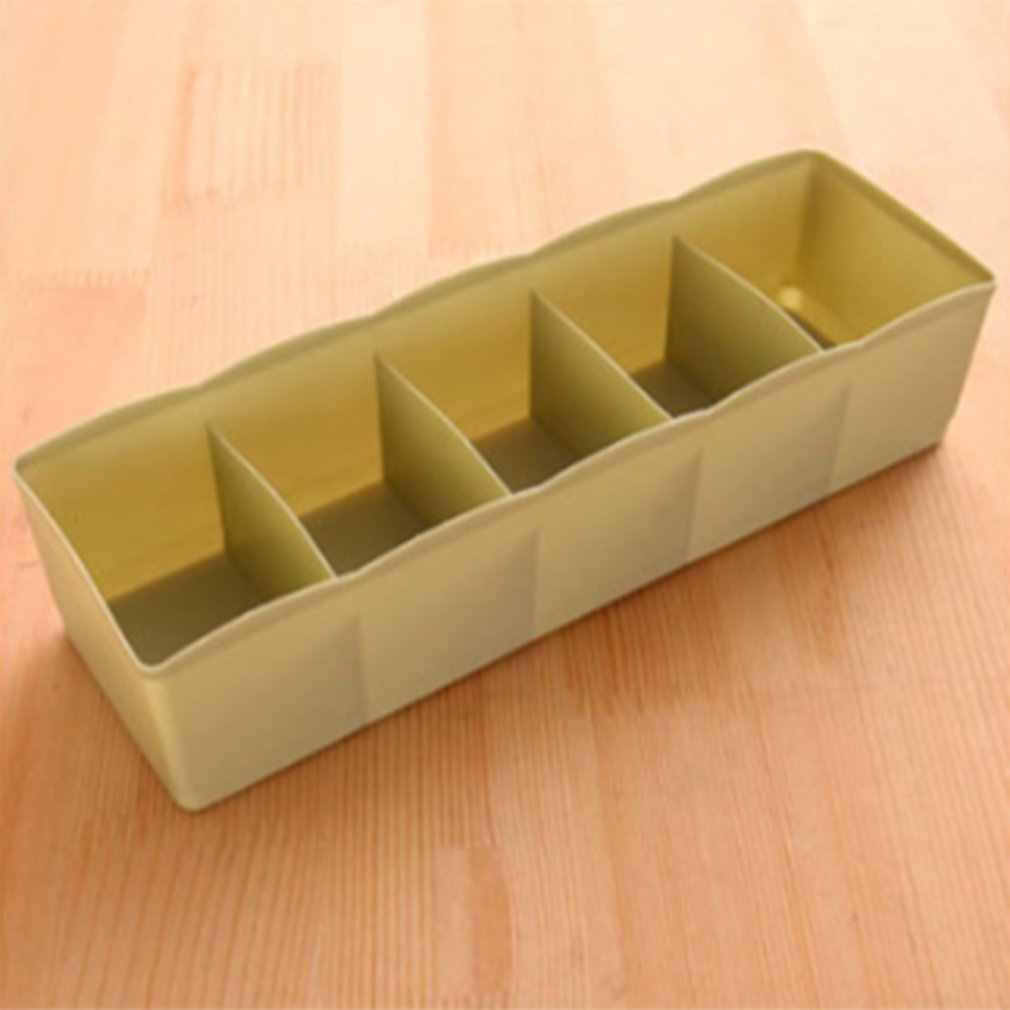 Five Grids Multi-function Underwear Socks Tiny Things Storage Box Plastic Finishing Box Drawer Desk Bed Cabinet
