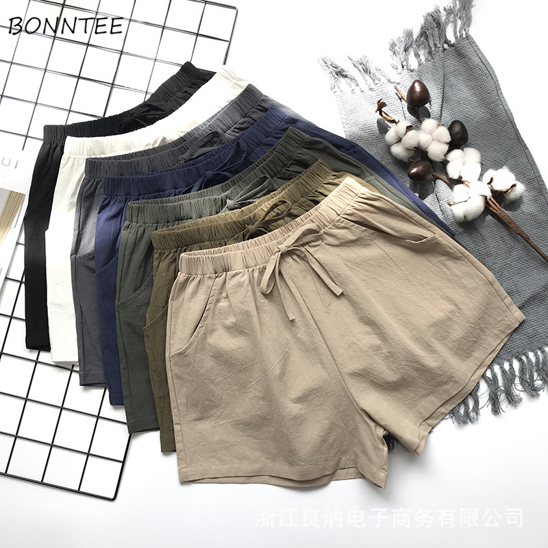 Shorts Women LooseTrendy Elegant All-match High-quality Korean Style Solid Leisure Daily Womens Female Lovely Simple 2020 Bow