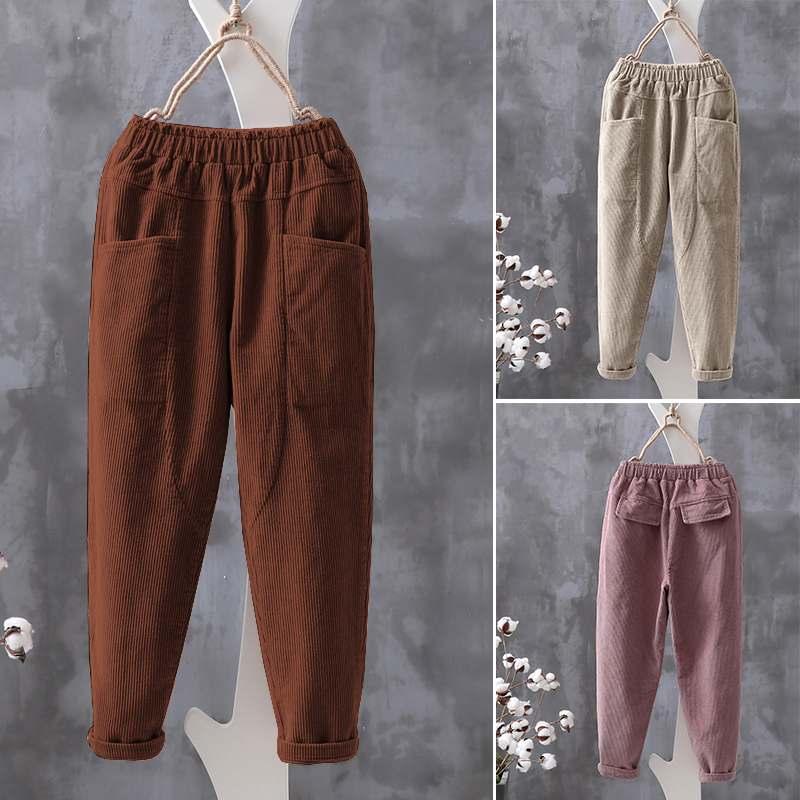 Women's Corduroy Cropped Pants ZANZEA 2020 Elastic Waist Long Pantalon Solid Harem Trousers Female Casual Palazzo Oversized 5XL