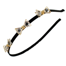 Elegant Women Girls 3 Shiny Crystal Bow Hair band accessories Comfortable Headwear