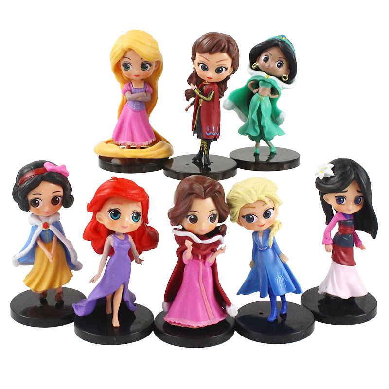 8pcs/set 10cm Q Posket Princess Figure Toys Aladdin Sleeping Beauty Snow White Ariel Mermaid PVC Model Doll