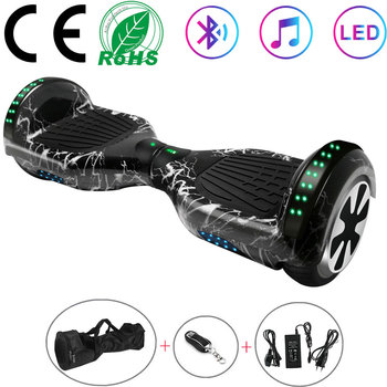 Electric Scooters 6.5 Inch Black Lightning Hoverboard Balance Board Self Balance Scooters 2 Wheels Skateboard Bluetooth+Key+Bag