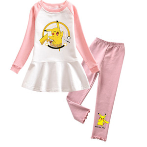 Spring Autumn Baby Girl Pokemon Costume Clothes Set for Girls Kids Long Sleeve Dresses Pants Suit Pikachu Outfit Dress Elegent