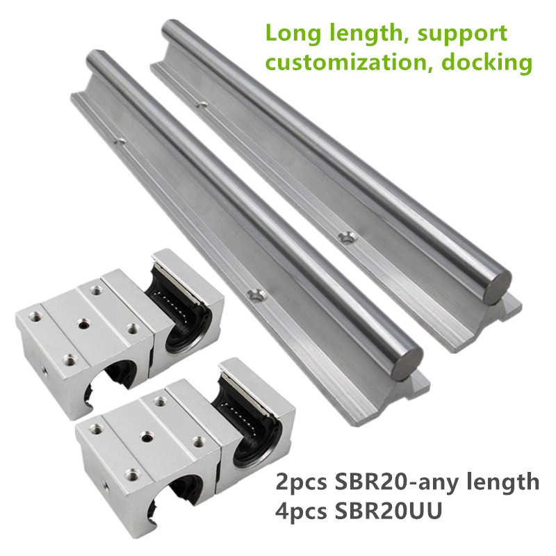2PC SBR20 1850mm 1900mm 1950mm 2000mm round linear guide rail with linear block SBR20UU 4PCS for cnc part(China)