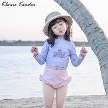 Раздельный купальный костюм для маленьких девочек, набор Рашгард, купальник с длинным рукавом для маленьких девочек, купальный костюм, детские костюмы для плавания, пляжная одежда