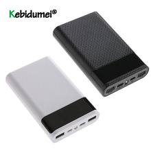 Neueste QC 3,0 Schnelle Ladung Dual USB Typ C Power Bank Fall DIY 4x18650 Handy 15000mAh batterie Lagerung Box Ohne Batterie