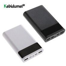 ล่าสุดQC 3.0 FAST CHARGE Dual USB Type C Power BankกรณีDIY 4x18650 โทรศัพท์มือถือ 15000mAhกล่องเก็บแบตเตอรี่ไม่มีแบตเตอรี่
