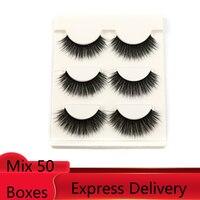 Mink Lashes 3D Mink Eyelashes 100% Cruelty free Lashes Handmade Reusable Natural Eyelashes Popular False Lashes Makeup 50 boxes