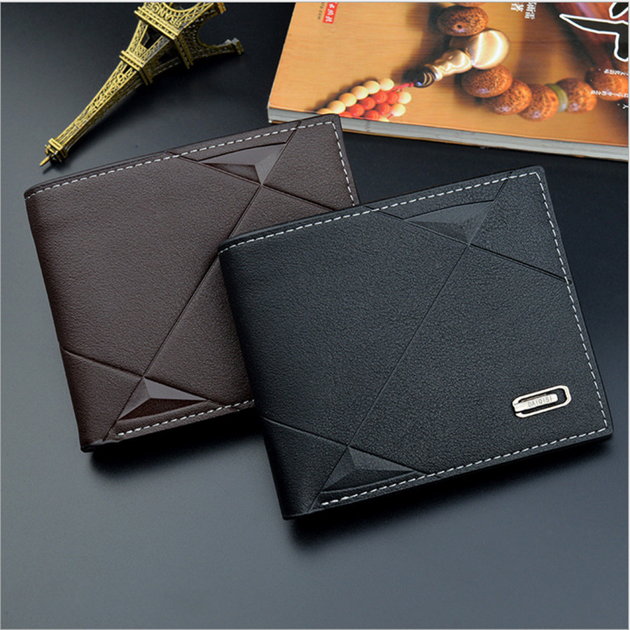 2019 New Men's Wallet Pu Solid Color Slim Wallet Men's Two-way Folding Short Credit Card Wallet Coin Purse Business Wallet Men