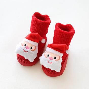 Tema de Navidad zapatos medias para bebé niñas infantes Niño Zapatos chico primeros caminantes precaminantes invierno hogar calzado árbol rojo hombre de nieve