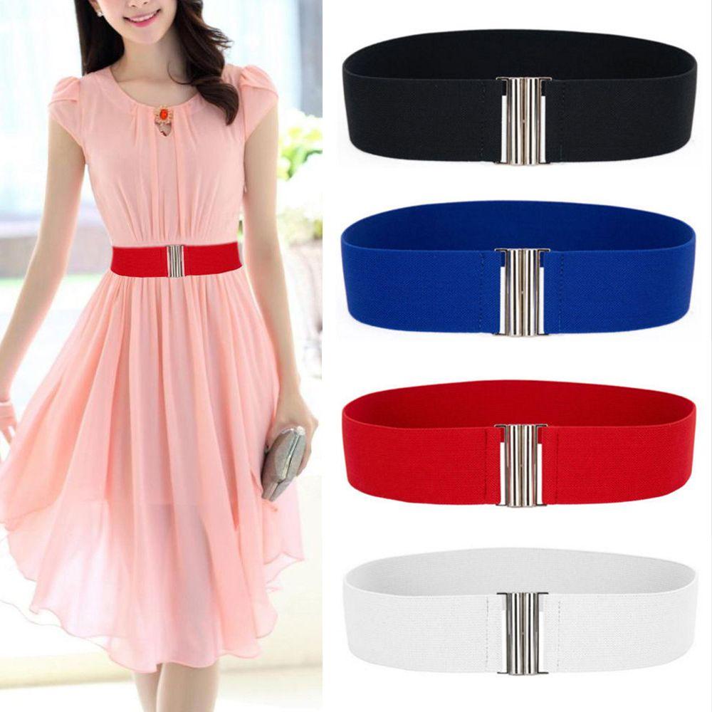 Women's Belt Stretch Skinny Elastic Wide Ceinture Corset Tie Wrap Waist Soft Vintage Femme Red Black Blue Dress Belt Accessories