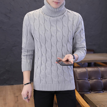 Fashion Brand Turtleneck Sweater Men Clothing Autumn Winter Warm Pullover Solid Color Turtle Neck Long Sleeve Slim Fit Korean