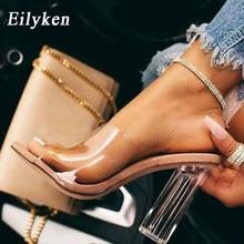 Eilyken 2021 nowy pcv galaretki kapcie kryształ Open Toed Sexy kobiety przezroczysty obcas kapcie sandały pompy pomarańczowy rozmiar 41 42