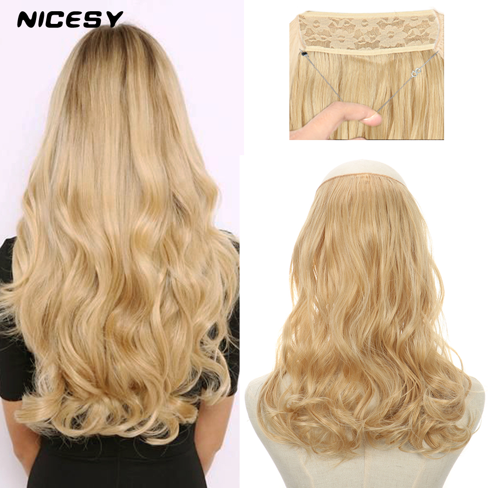 NICESY Long Wavy Synthetic Extensions Halo Hair Ombre One Piece Hairpiece Fish Line Fake Hair Natural Black Blonde