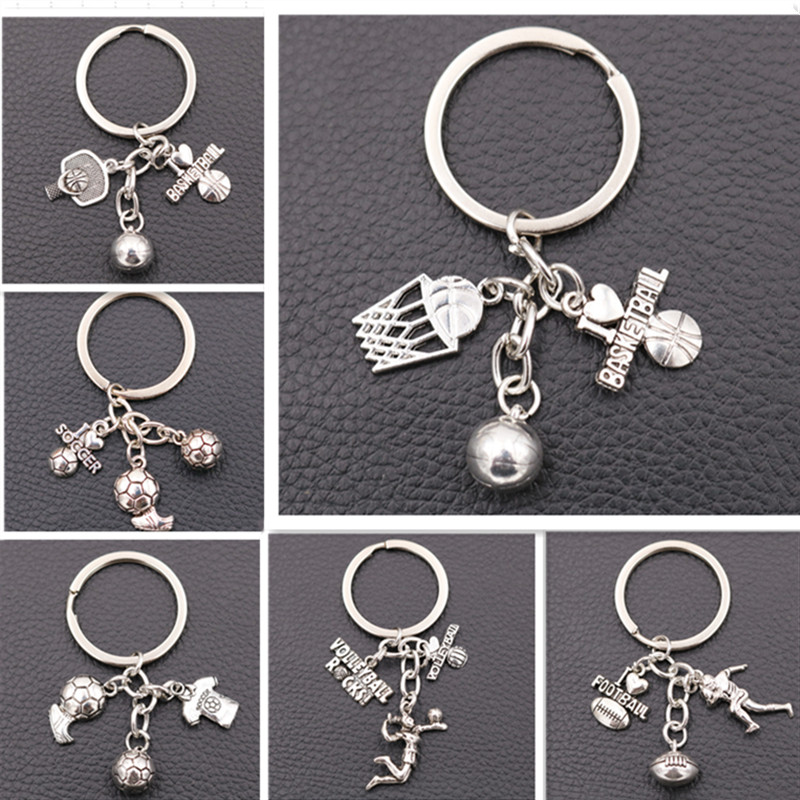 Popular Ball Sports Metal Keychain, Football Charms, Basketball Charms, Rugby Charms, Volleyball Charms,  DIY Jewelry Unisex 1pc