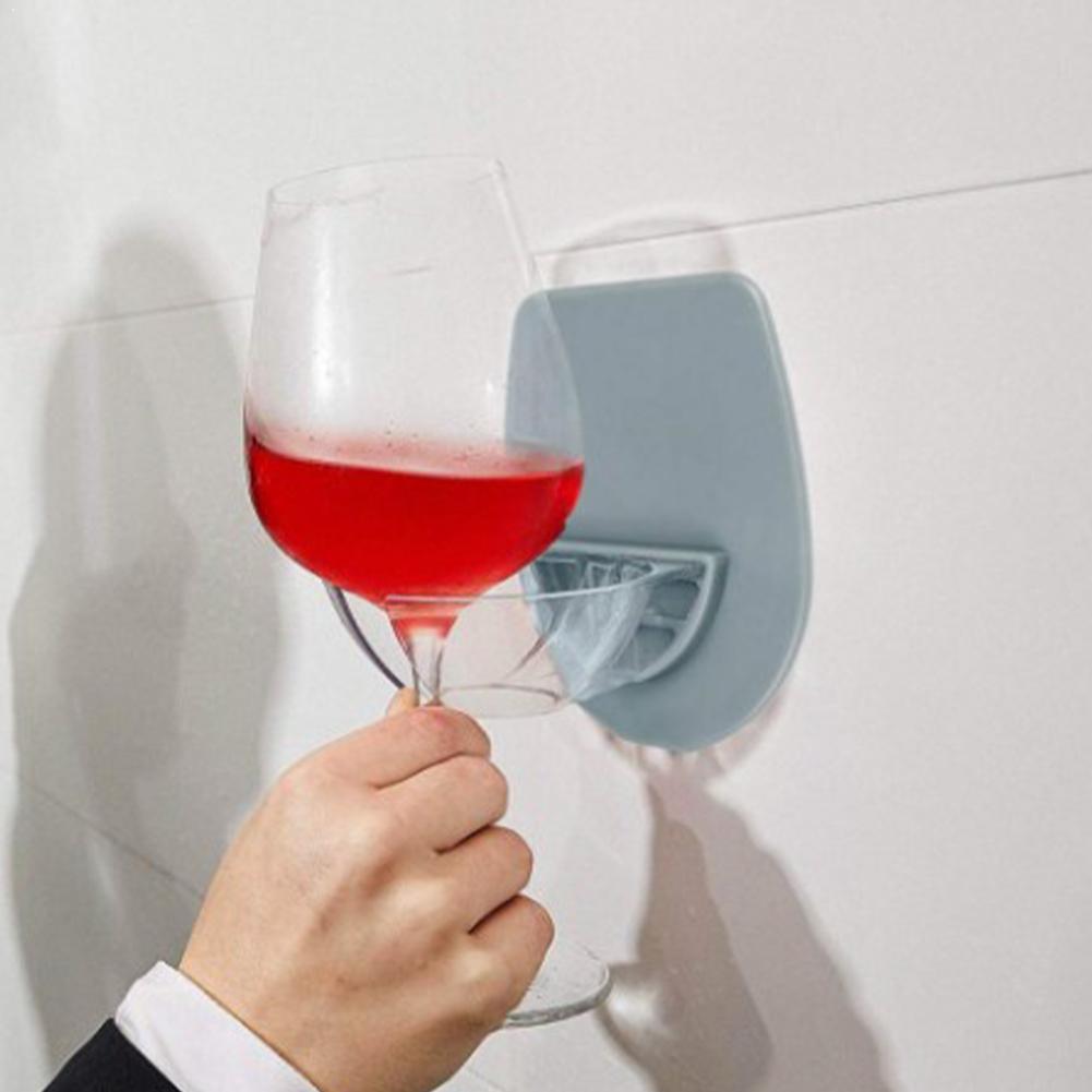 1pcs Abs Wine Glass Bracket Bathroom Glass Mirror Wall-mounted Rack Wine Storage Glass U7R8