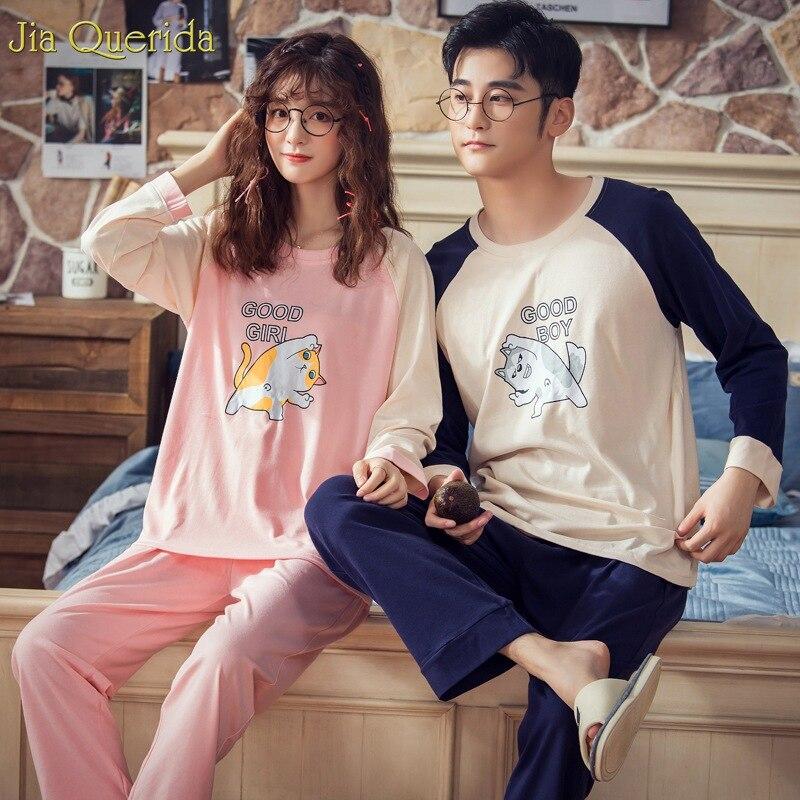 Pajama Sets Women Cotton Sleepwear Man And Women Matching Loungewear Lovely Cats Printing Couple Pajamas Autumn Home Suit Cotton