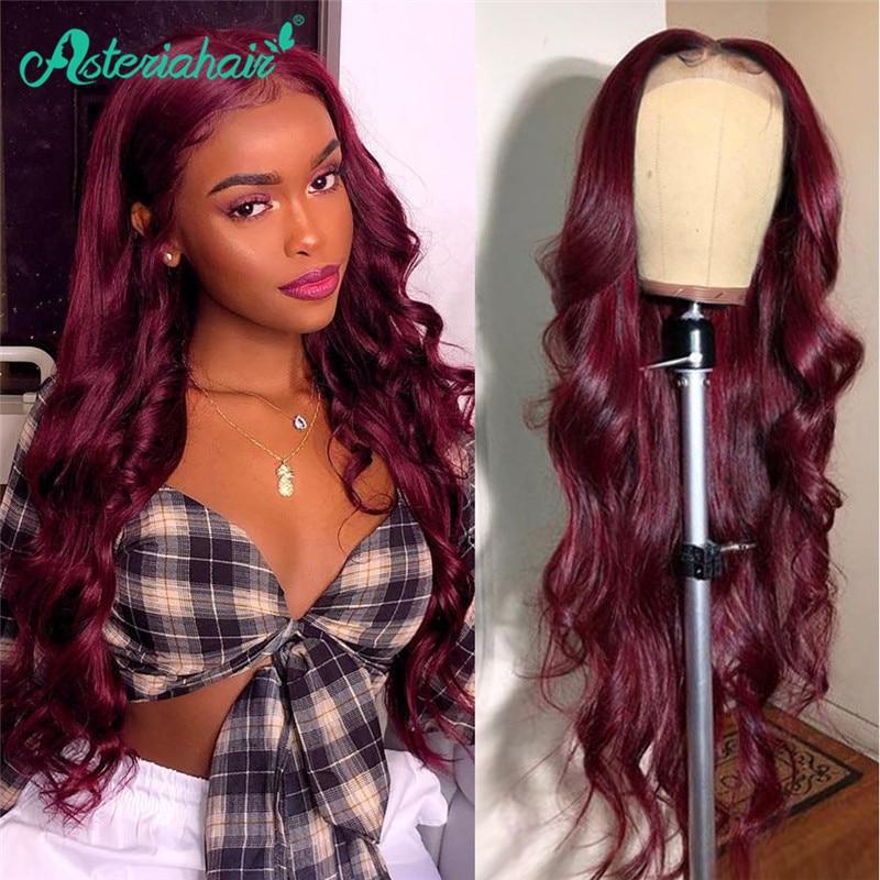 Asteria de la onda del cuerpo de 99J T parte de encaje pelucas de cabello humano para las mujeres negras brasileño Borgoña 4x4 de cierre de encaje pelucas Pre arrancó cabello Remy