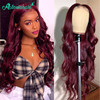 Asteria Body Wave 99J T Lace Part Human Hair Wigs For Black Women Brazilian Burgundy 4x4 Lace Closure Wigs Pre Plucked Remy Hair