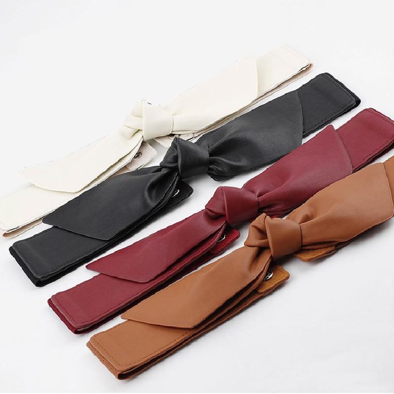 Ladies Elastic Waistband Fashion Decoration Belt Elastic Waist Soft Wide Belt Red Bowknot Women Cummerbund 2020 New