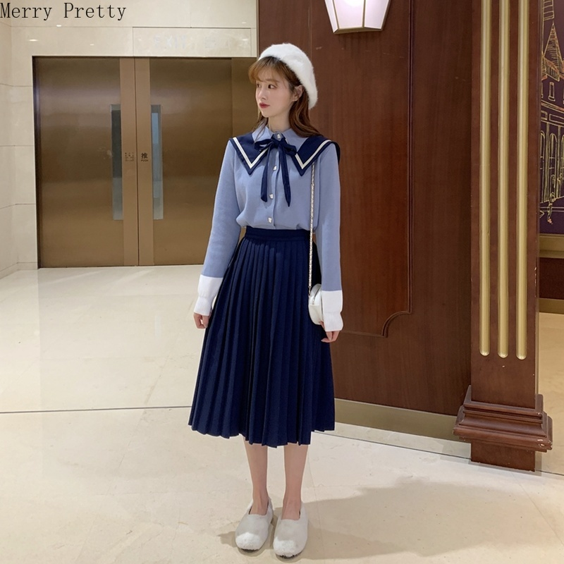 2020 Women's Sets 2 Pieces Set Knitted Sweaters And Pleated Skirts Turn Down Collar Bow Tie Sweater Knee Length A-line Skirt Set