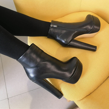 Onlymaker Women's Round Heel 16CM High Heel Platform Ankel Boots Block Chunky Heels Wedding Party Shoes Large Size US5~US15