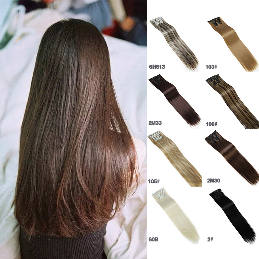 MUMUPI Fashion Womens Clip In Hair Extentions 24 Inches Natural Hairpieces 6pcs Straight Synthetic
