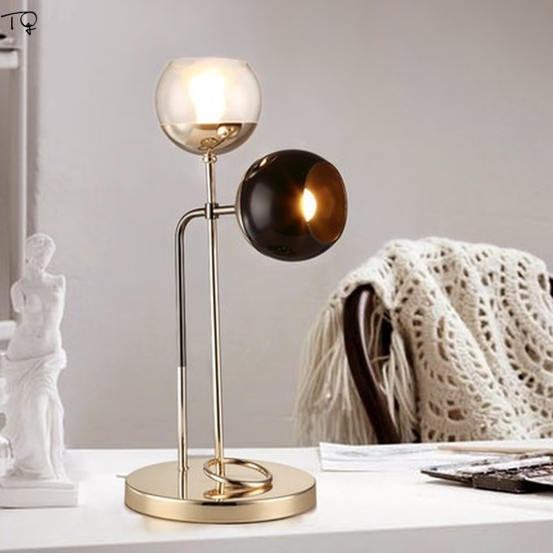 Nordic Modern Simple Lustre Gold Glass Led Metal Table Lamp Industiral Double Head Creative Art Reading Study Bedroom Desk Lamp in Desk Lamps from Lights Lighting