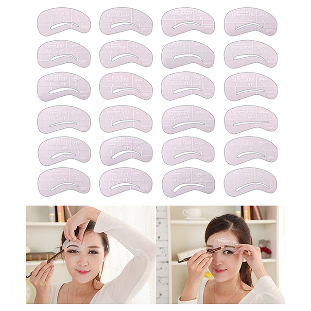 24Pcs Eyebrow-shaped Permanent Mold Template Design Thrush Card Threading Word Eyebrow Tattoo Artifact Aid Card Makeup Tools