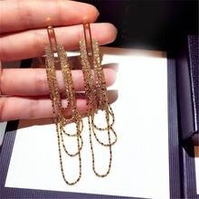 Новые модные висячие серьги подвески с цепочкой кисточками ювелирные