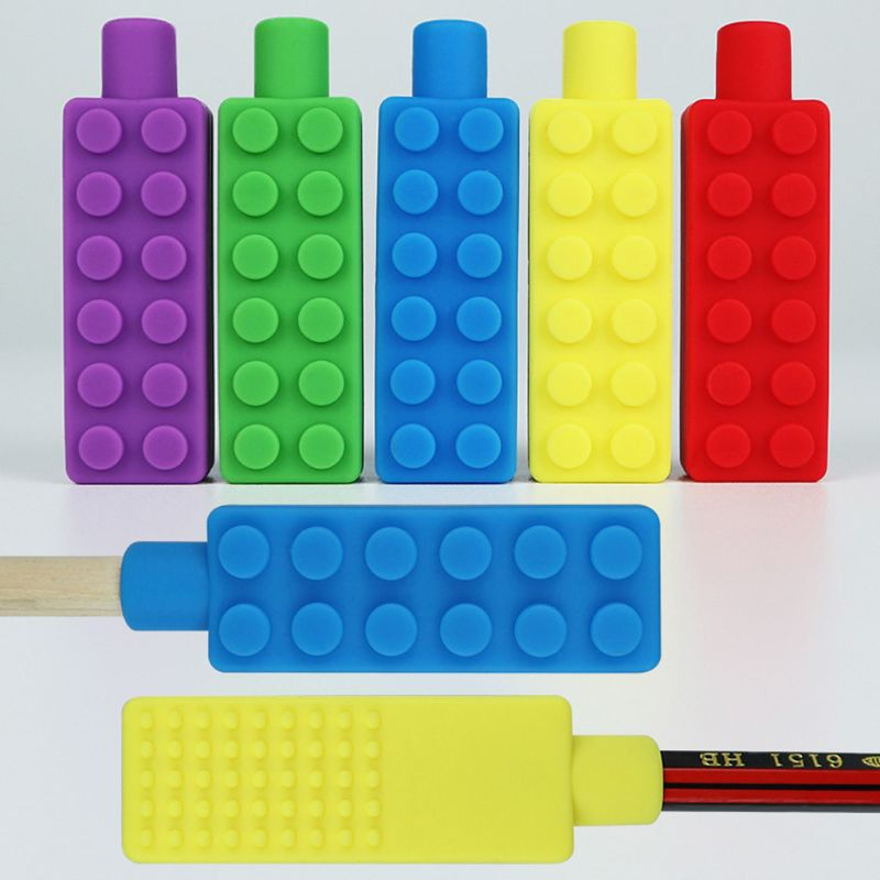 Pencil Toppers,3 Pack Silicone Therapy Toys Chewy Sensory Toy For Autism, Anxiety, ADHD