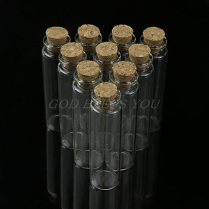 10 Pcs 20ml 22*80mm Empty Tiny Small Clear Cork Message Glass Bottles Vials Drop Shipping